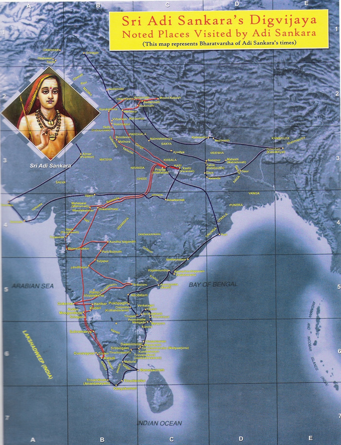 Adi Sankara's Travel Map